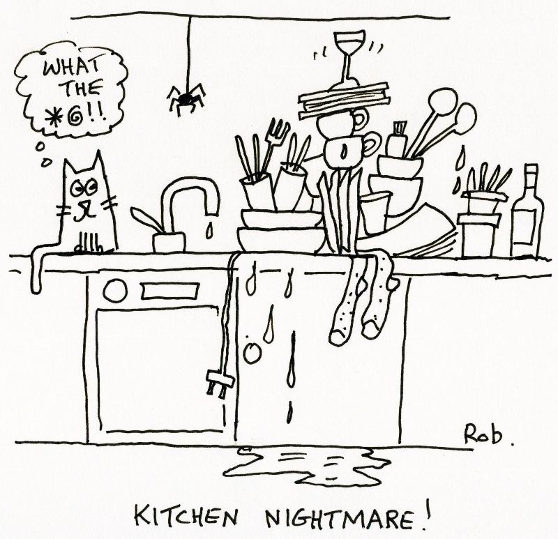 Messy Kitchen Cartoon: Shelley Sackier