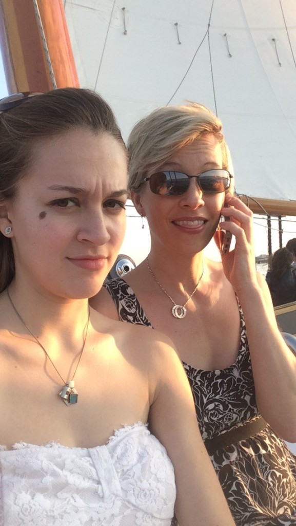 Chloe and Shelley on sailboat