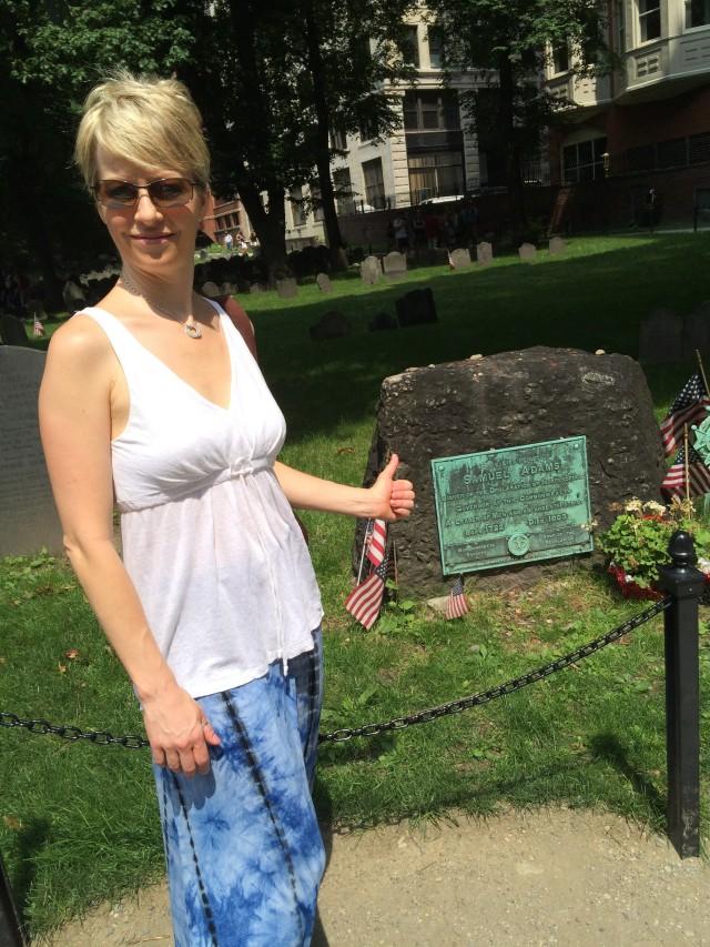 Shelley at Sam Adams tomb